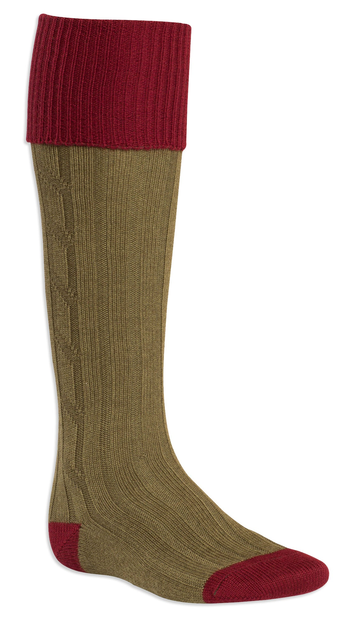 bordeaux and olive Contrast Heel & Toe Shooting Sock by Alan Paine