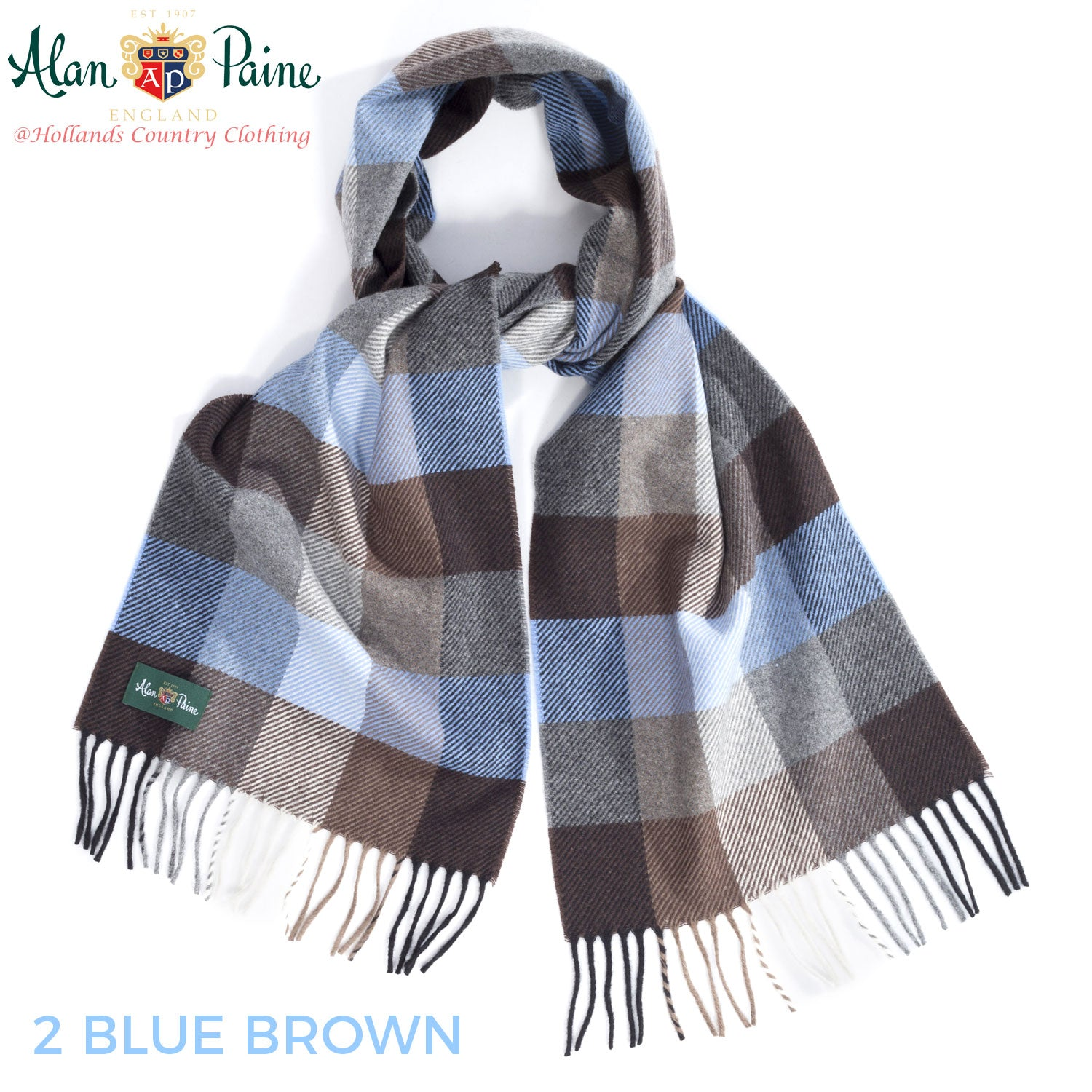 blue brown Alan Paine Multi-Colour Check Scarf
