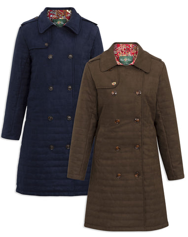 Alan Paine Ladies Felwell Quilted Coat | Navy, Olive, Brown