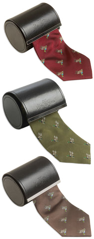 Alan Paine Ripon Silk Tie | Ducks Brown Green Bordeaux colours