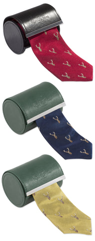 Alan Paine Ripon Silk Tie | Stag's Head IN GOLD, RED , NAVY