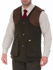 Loden Wool Shooting Gilet Vest by Alan Paine