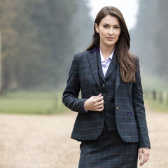 woman wearing Surrey Ladies Tweed Skirt by Alan Paine