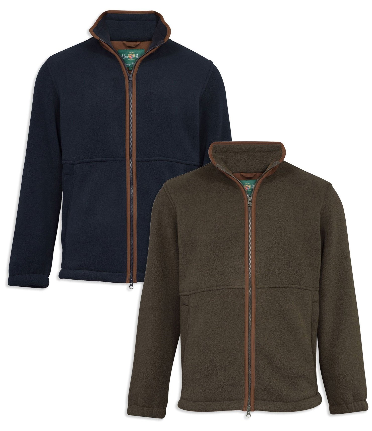 Alan Paine Aylsham Fleece Jacket in green and navy