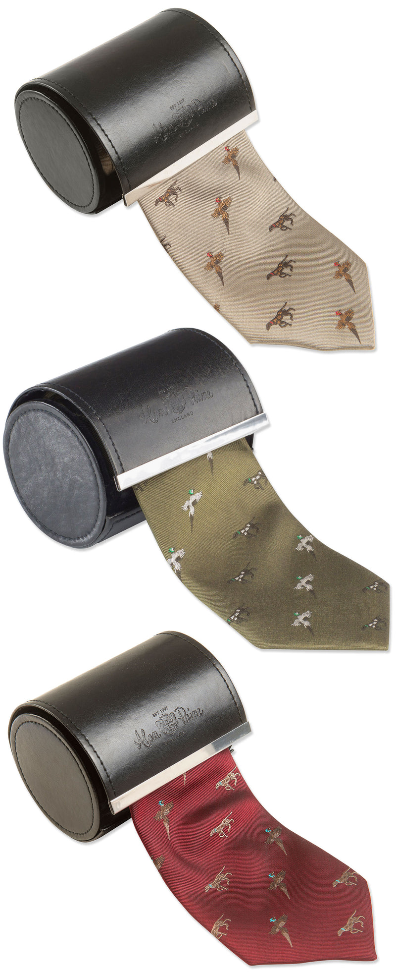 Alan Paine Ripon Silk Tie | Bird & Dog IN GREEN , BORDEAUX AND GOLD