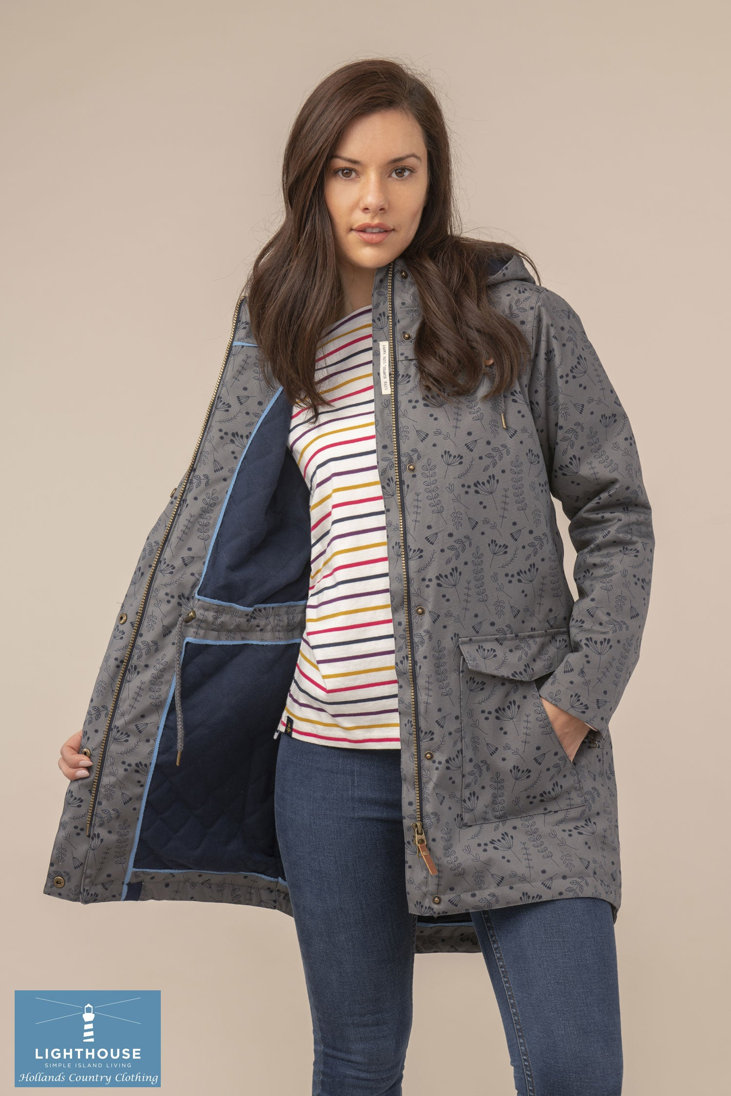 Coat open showing lining