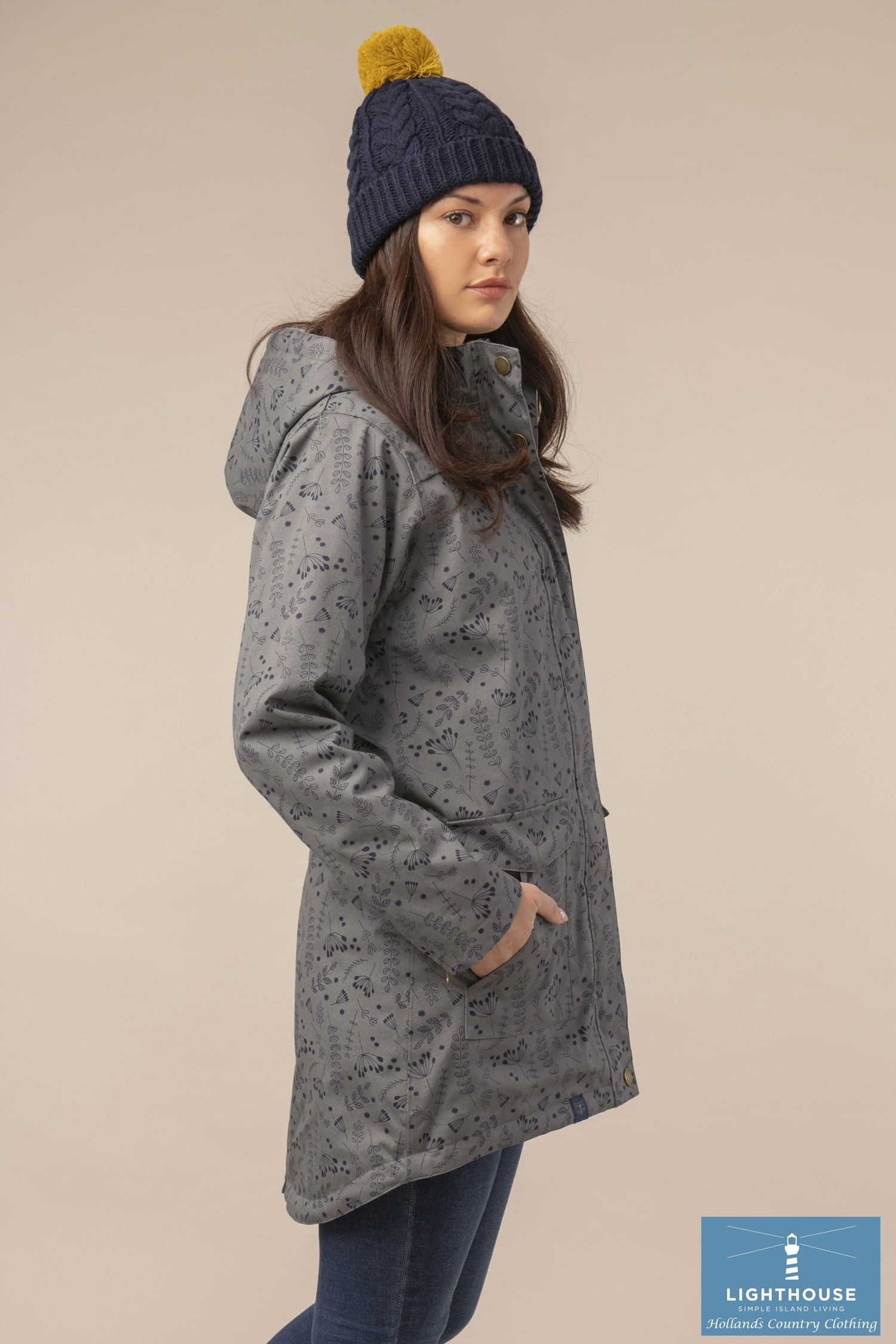Side view showing Parka coat tail