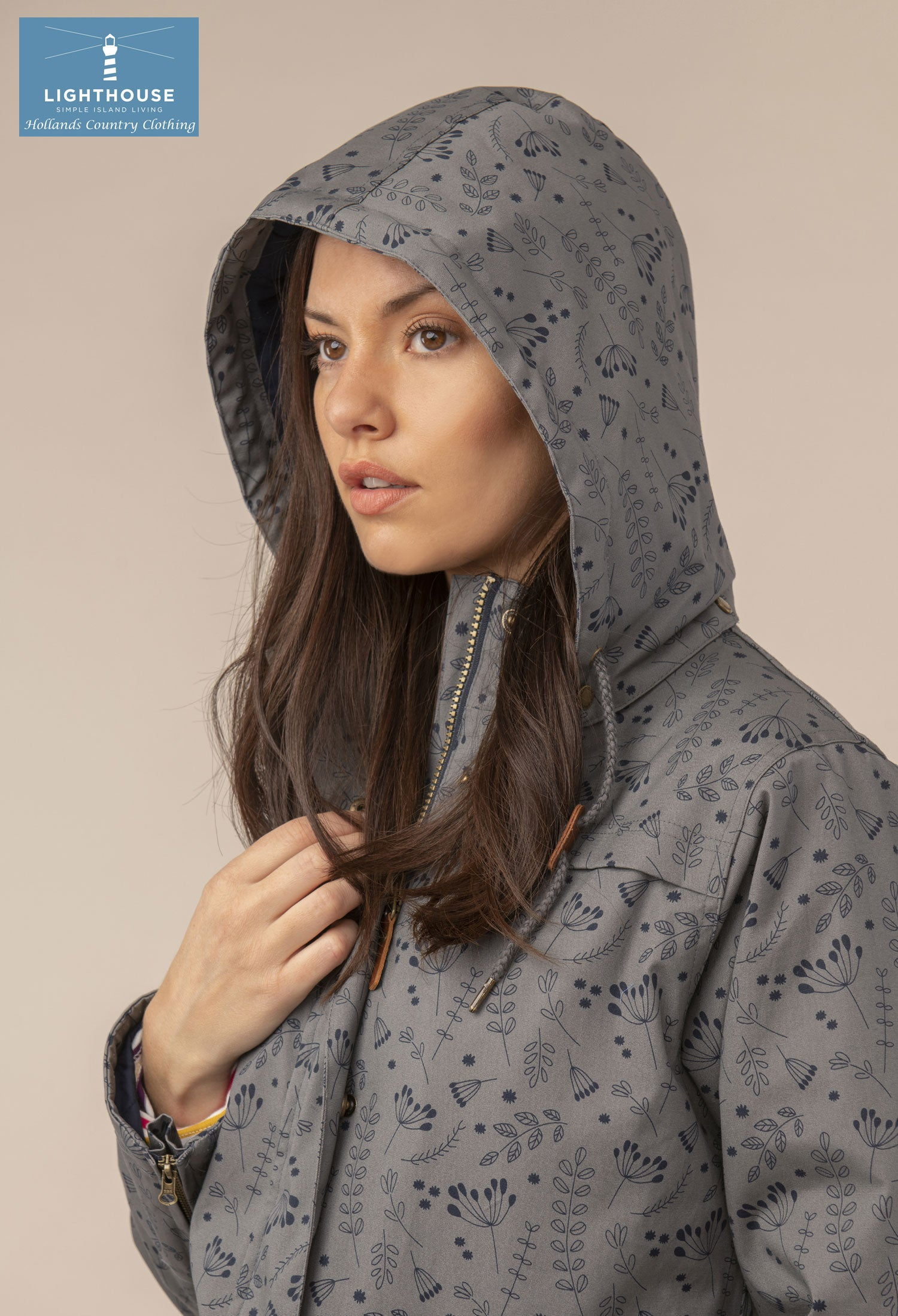 Hood up urban grey Alanna Quilted Waterproof Coat by Lighthouse
