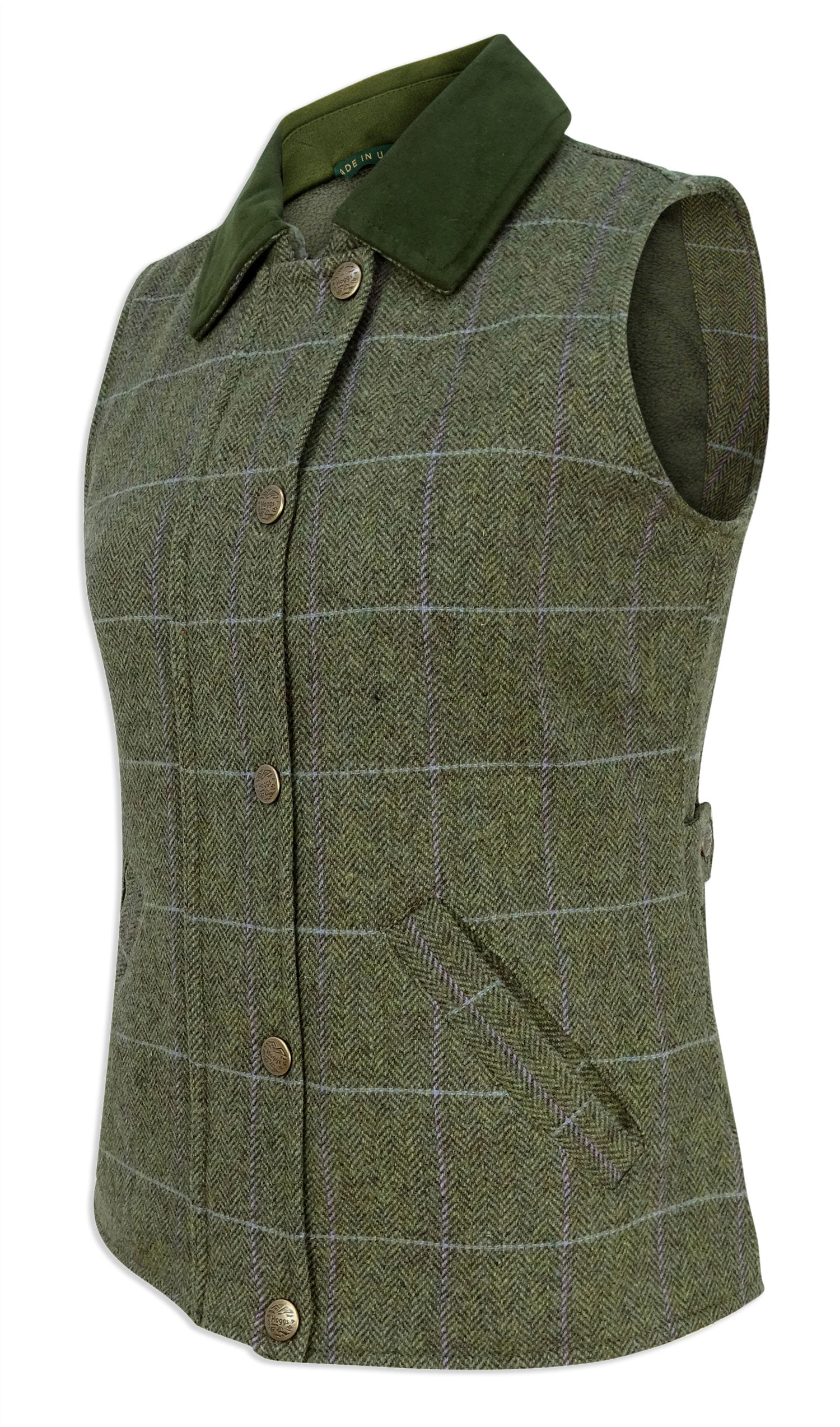 Hoggs Albany Ladies Tweed Gilet Green and Lilac