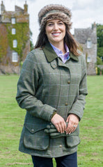 woman wearing Hoggs Albany Waterproof Lambswool Shooting Coat