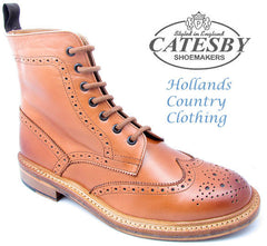 Catesby All Leather Brogue Lace Up Derby Boot in Tan