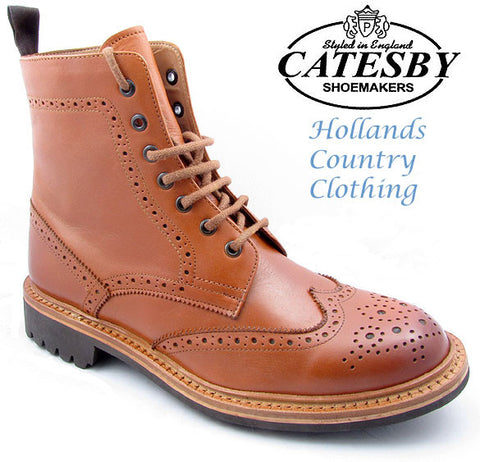 Catesby Leather Brogue Derby Boot Commando Sole