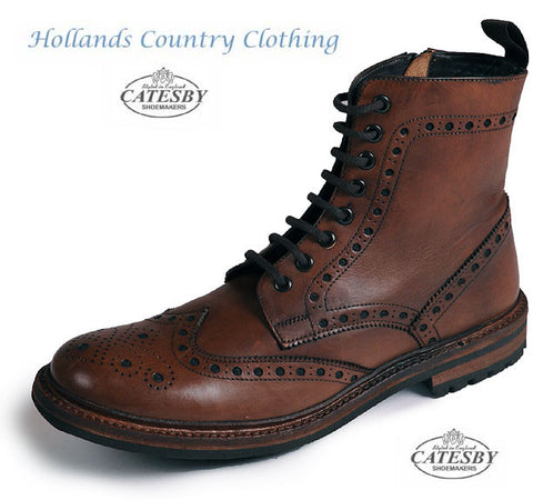 Catesby All Leather Brogue Lace Up Derby Boot rich brown colour