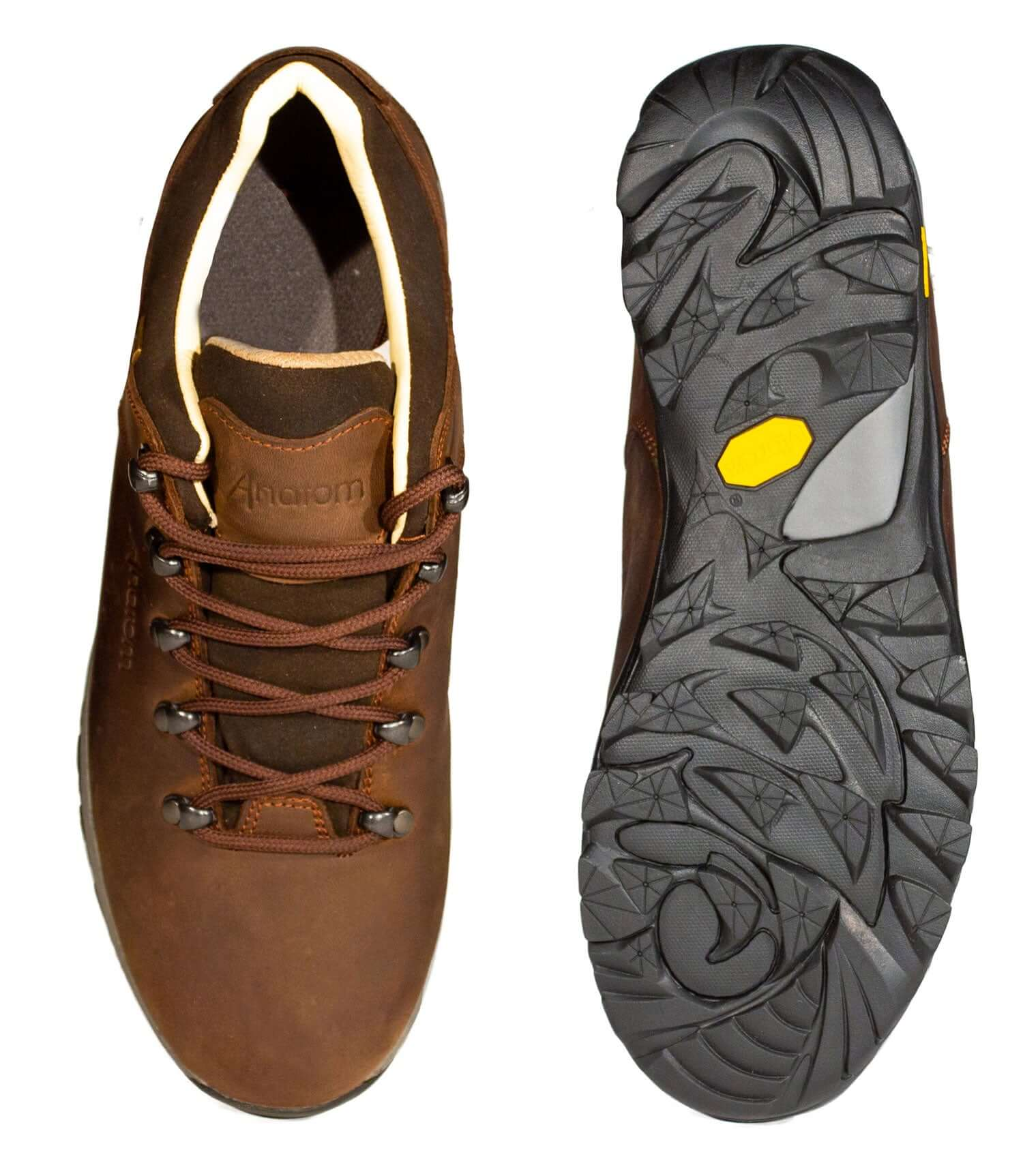 Upper and sole view of Anantom men's leather walking shoes