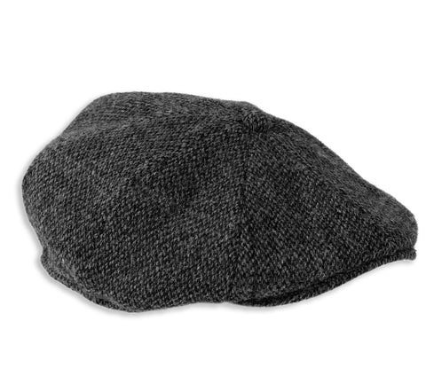 Heather Arran 8-Piece Harris Tweed Cap | Black Herringbone