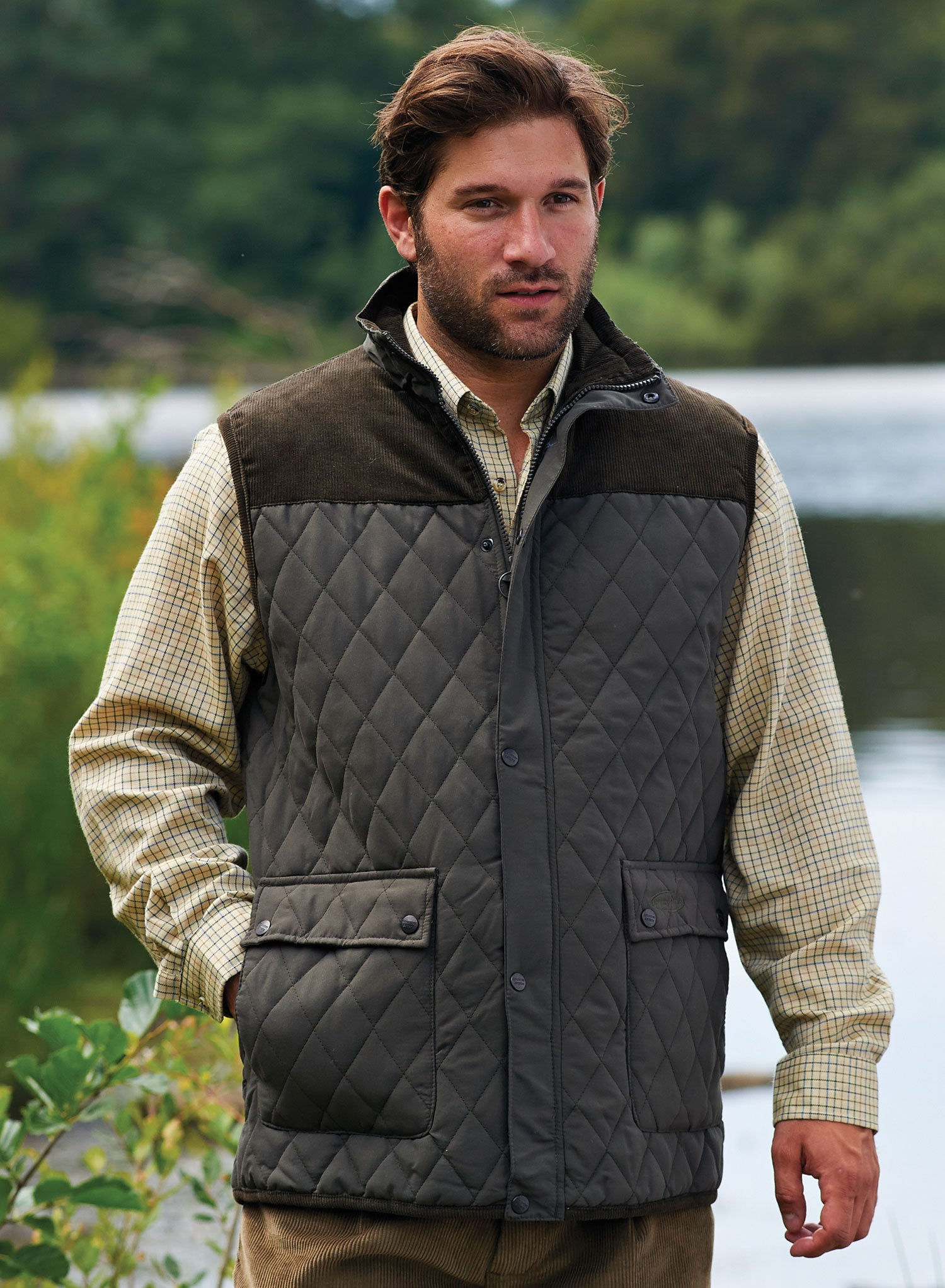 NEW Hoggs of Fife Quality Lightweight Rover Quilted Gilet Green Size Choice