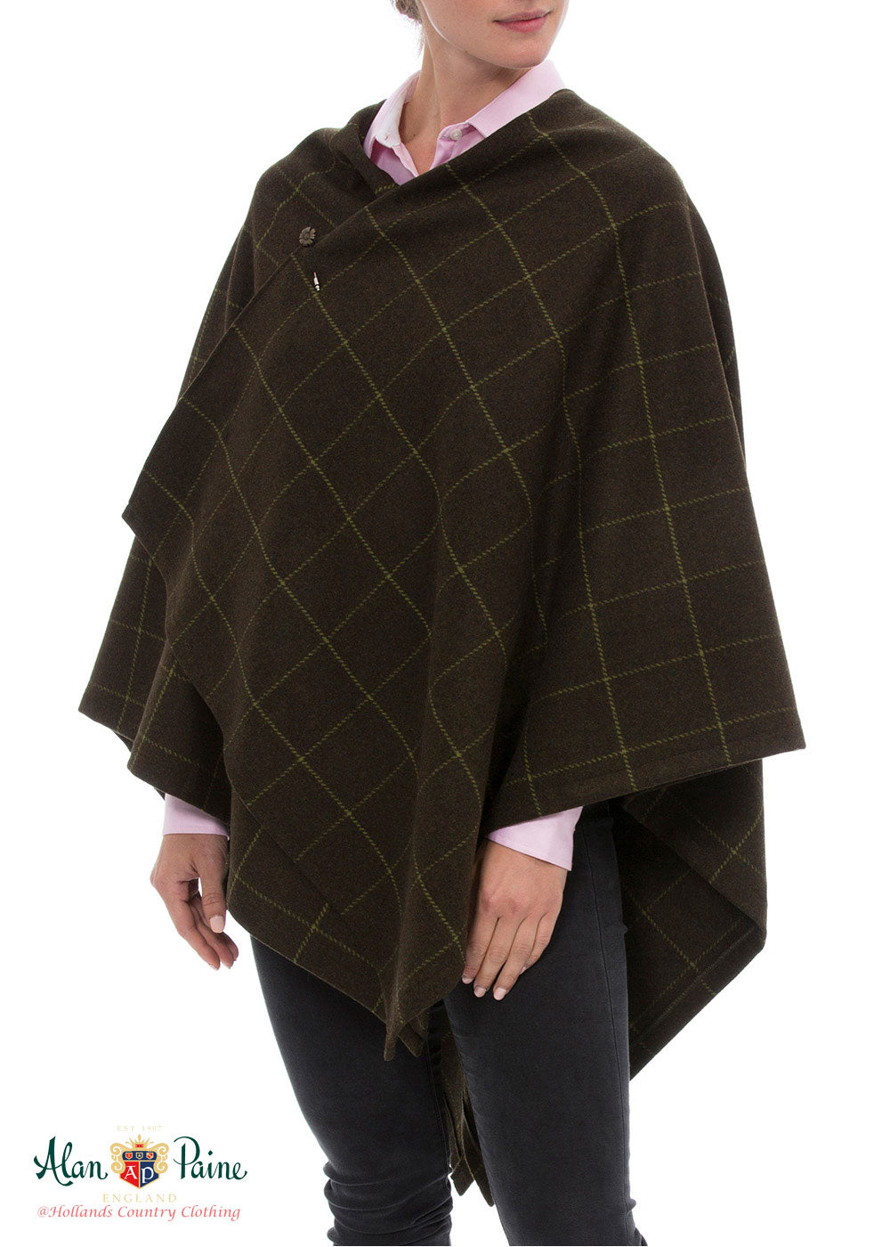 poncho style tweed Combrook Avocado Wrap Around Tweed by Alan Paine