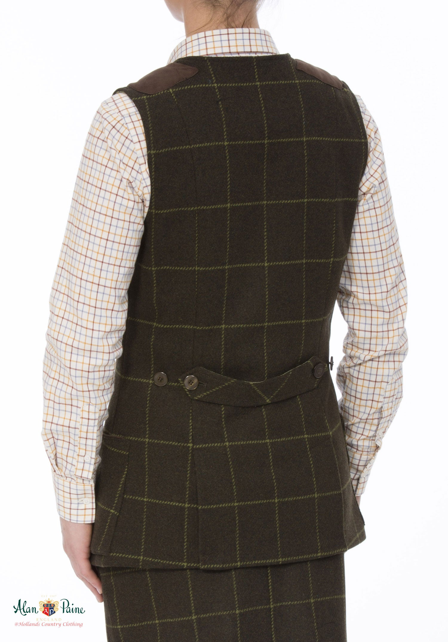 rear view Alan Paine Ladies Tweed Shooting Waistcoat | Avocado