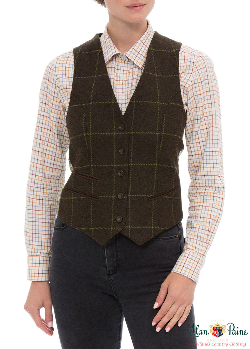 woman wearing Combrook Tweed Lined Back Waistcoat  by Alan Paine