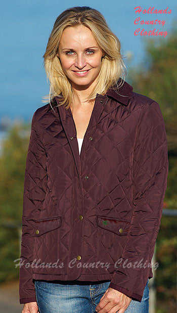 Champion ladies diamond quilted jacket in plum colour