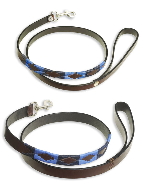 Pampeano Azules Leather Dog Lead | Sky blue, Navy, Rich Brown Leather