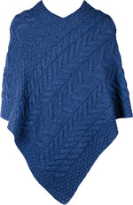 Blue wool knitted poncho by aran