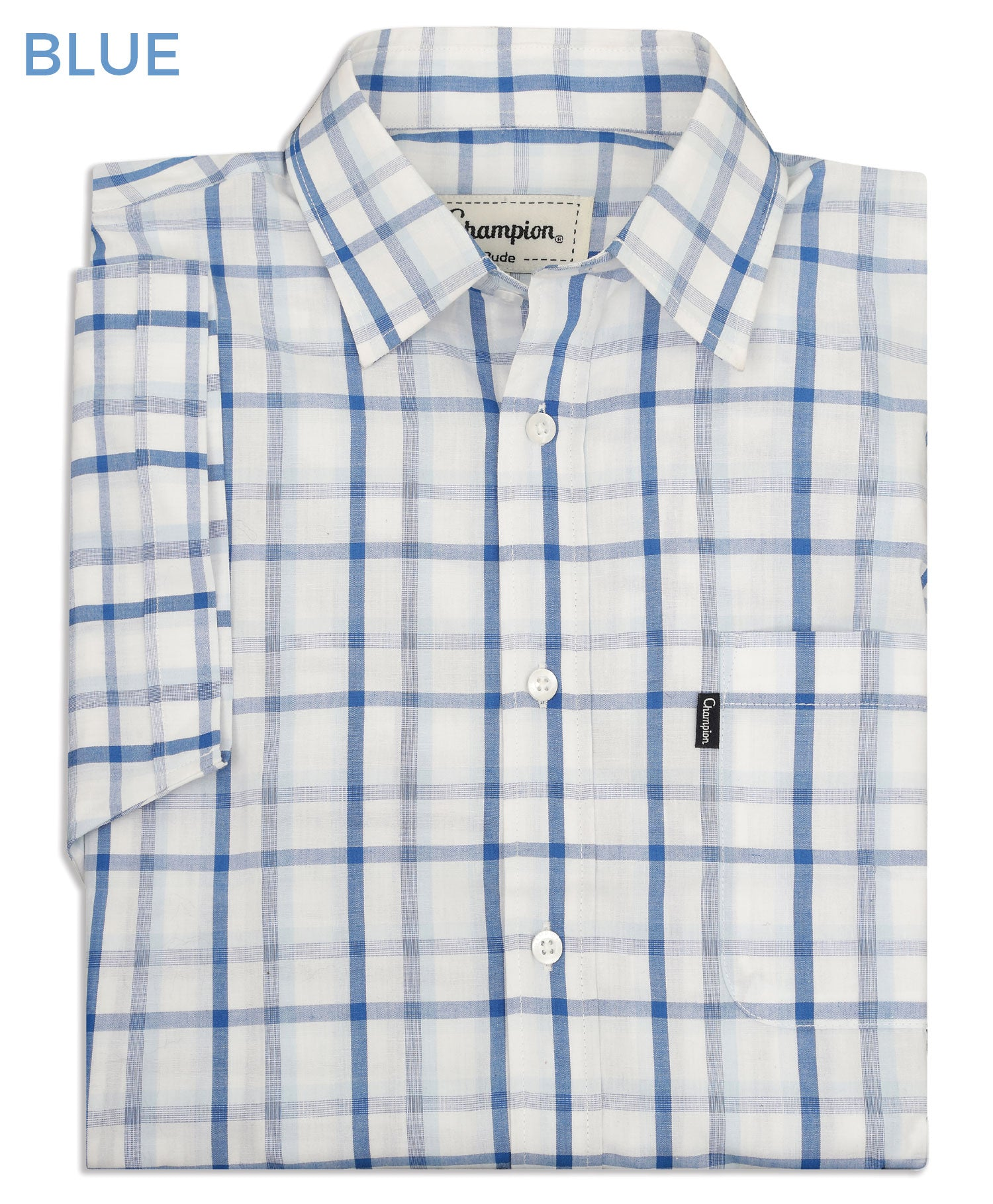 Folded shirt in blue check