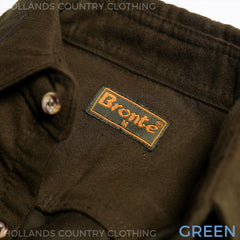 Bronte Moleskin Country Shirt in green collar detail