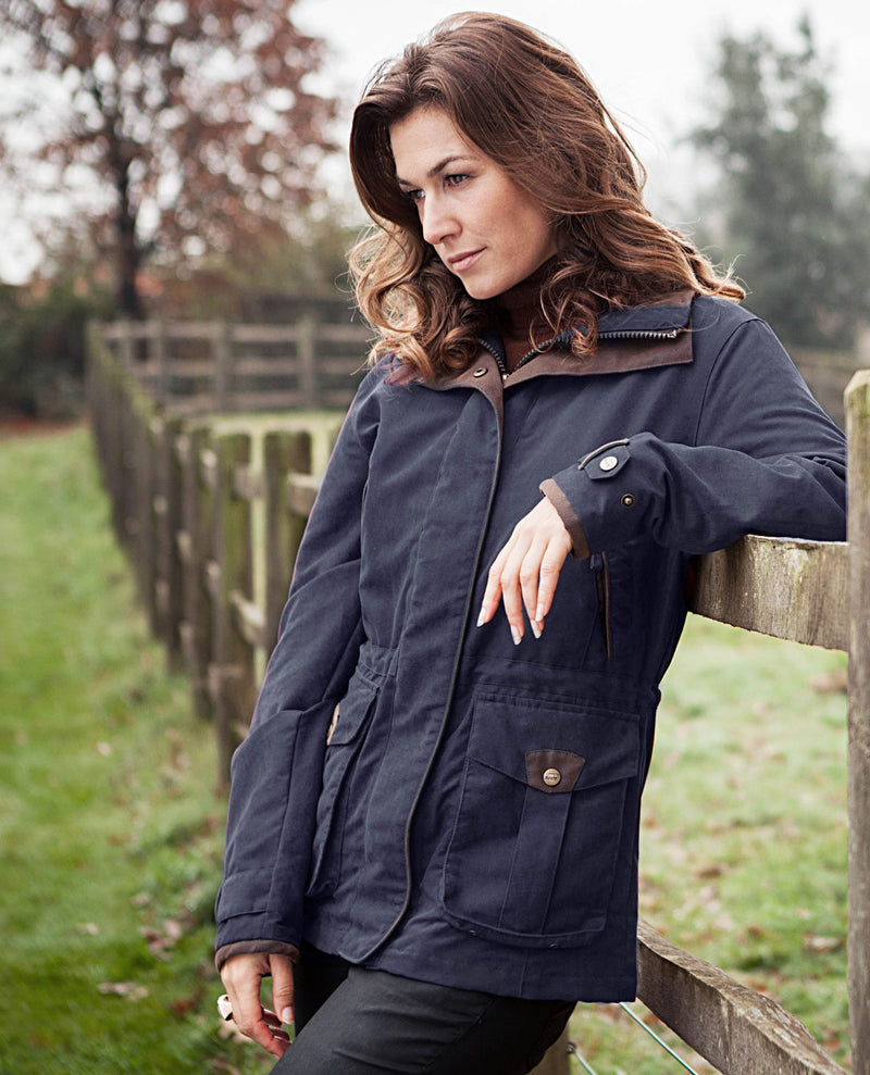 Navy Riding coat Ascot Ladies Waterproof Jacket by Baleno