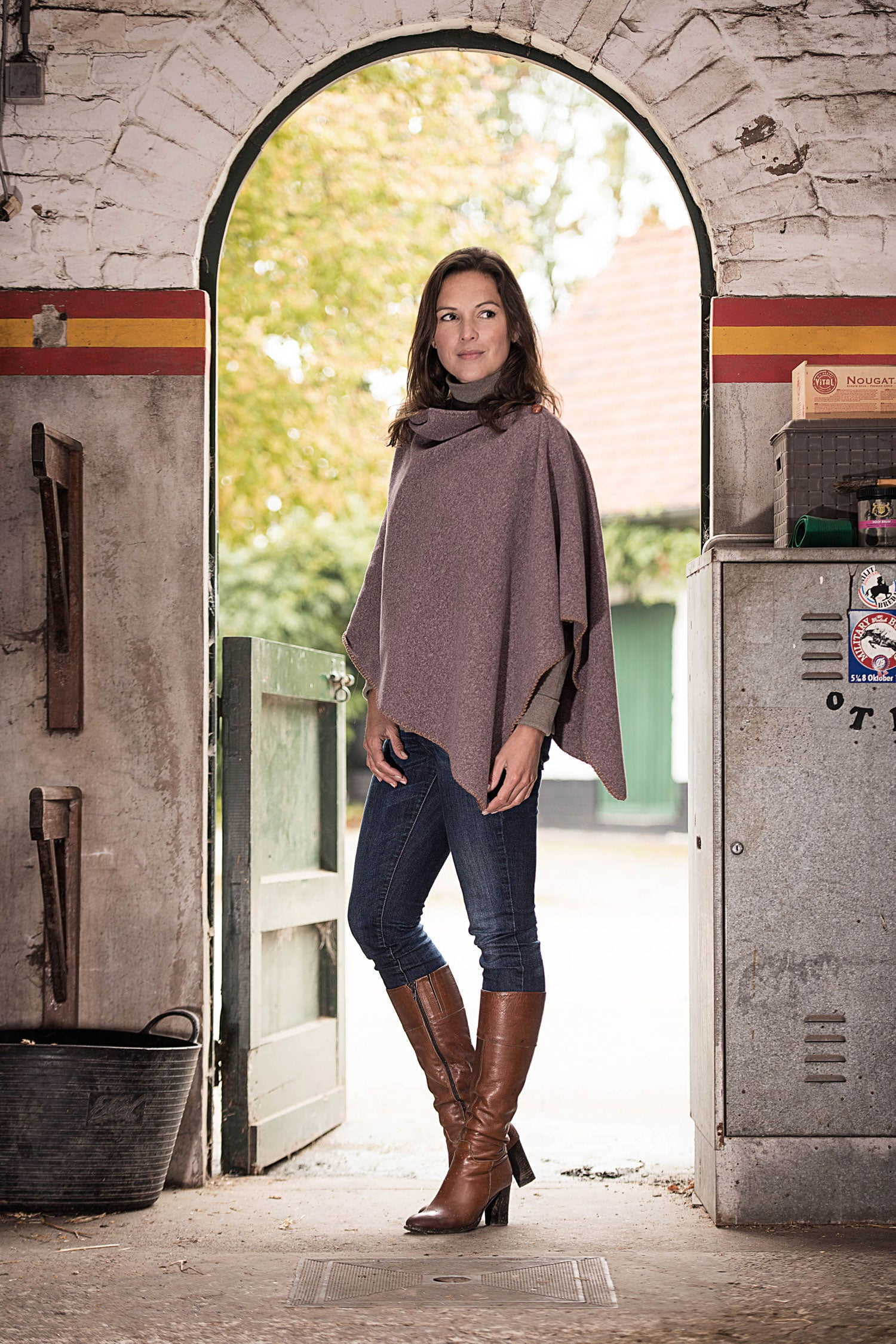 Baleno Fleece poncho in heather
