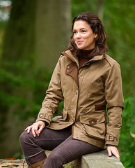 sitting on a bridge Ladyfield Ladies Waterproof and Breathable Coat by Baleno