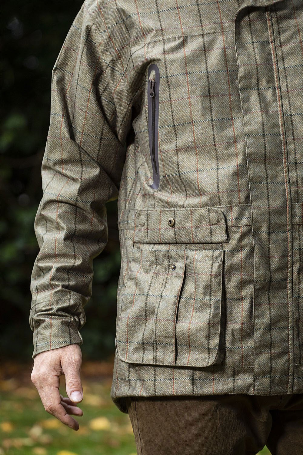 pseudo Khaki Tweed Check Baleno Moorland Waterproof Jacket