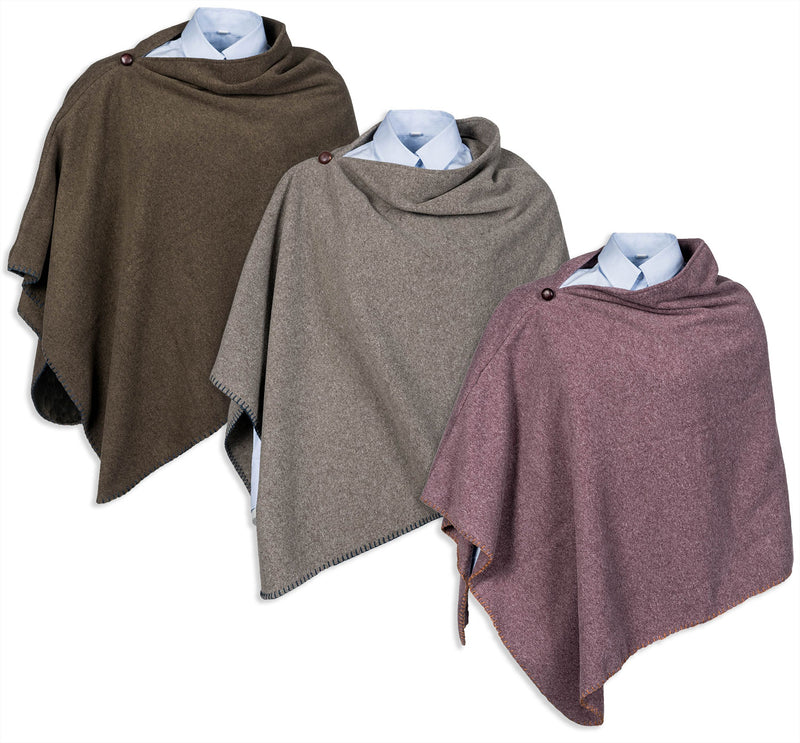 Baleno Shirley Poncho | Slate Grey, Heather, Moss Green