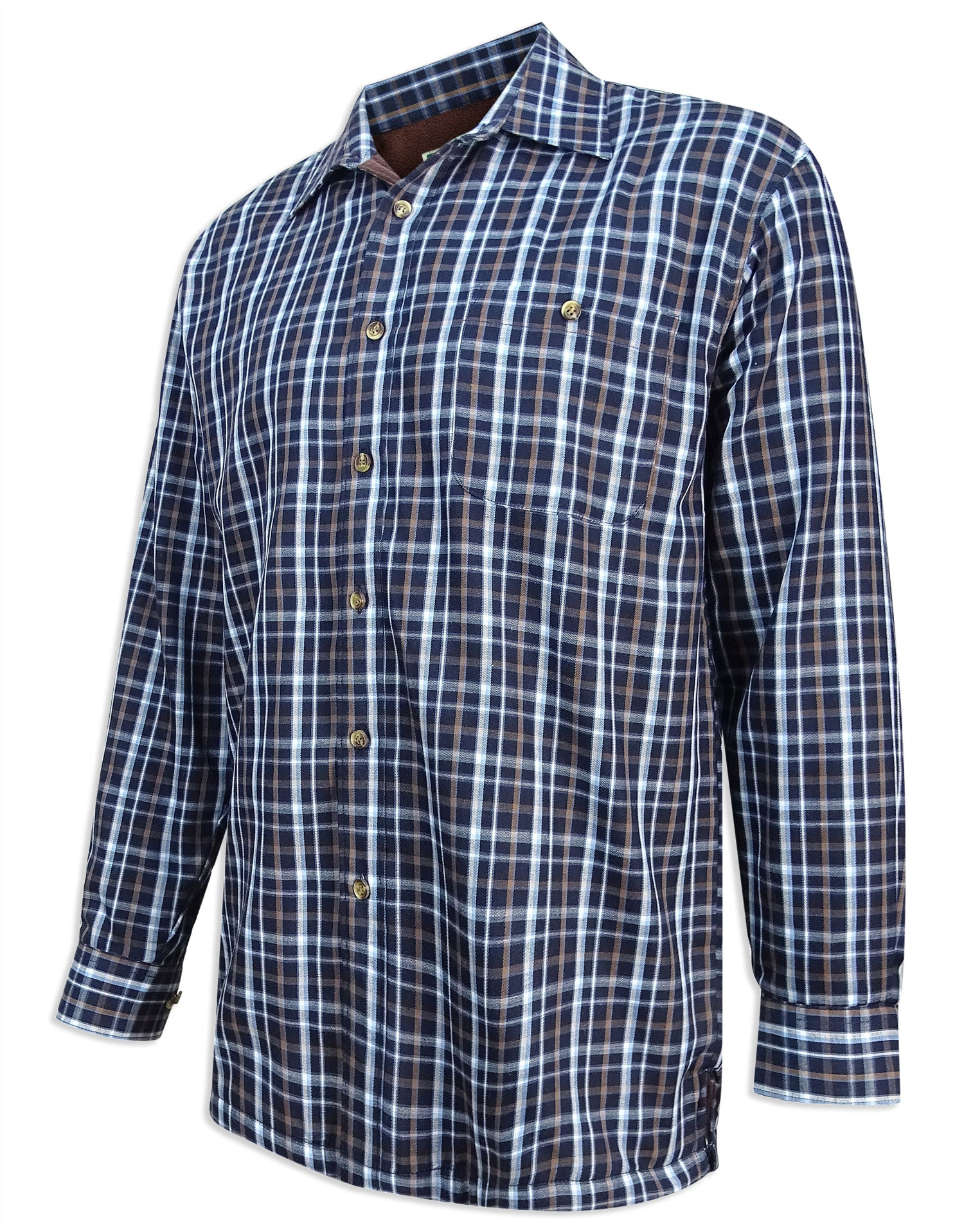 Hoggs Bark Micro Fleece Lined Shirt | Navy tartan