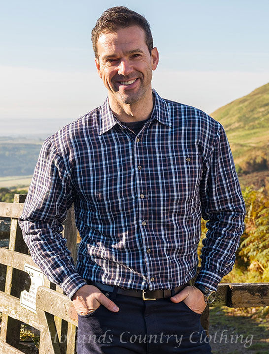 man wearing Bark Micro Fleece Lined Shirt by Hoggs of Fife.
