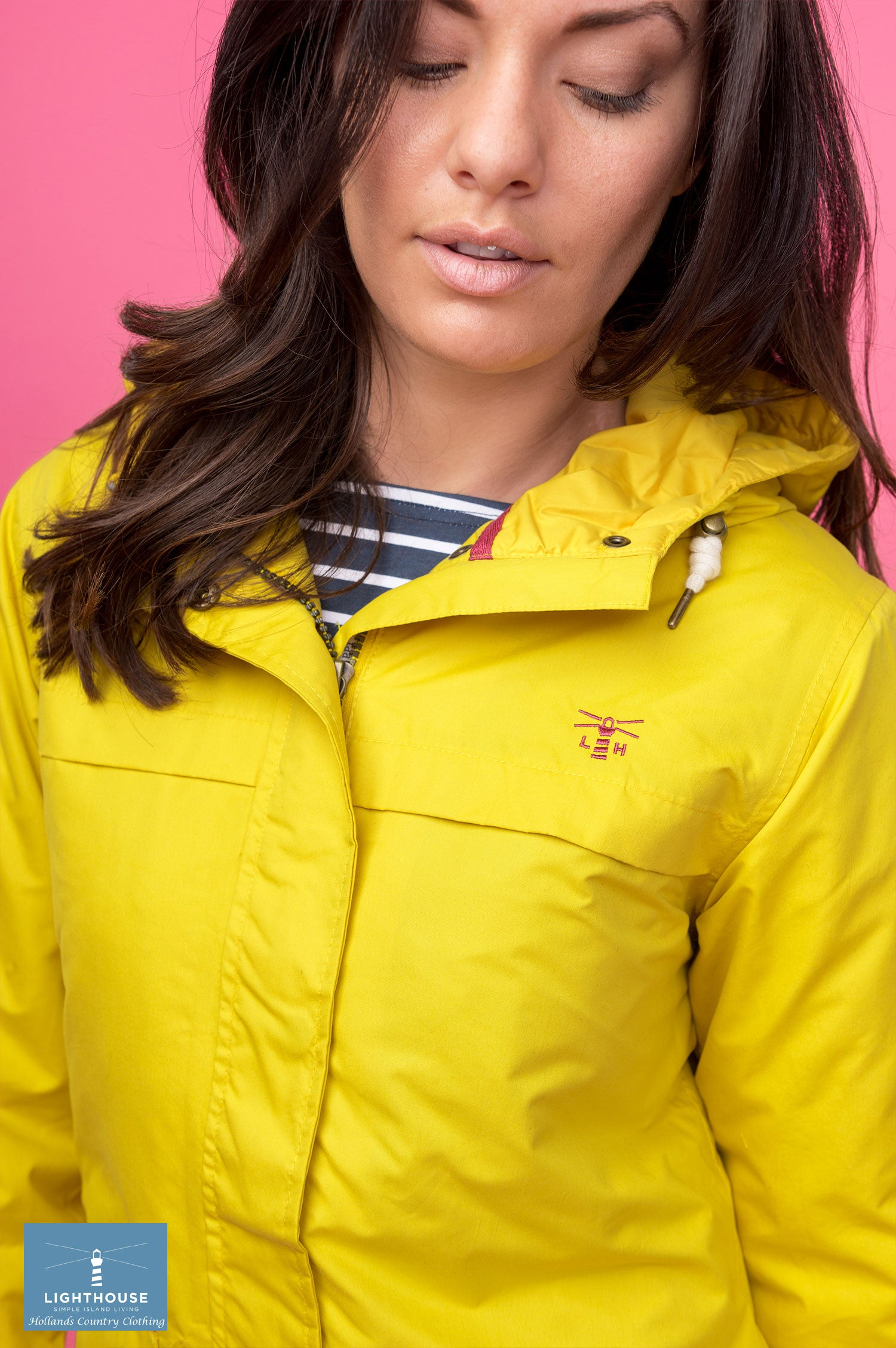 yellow collar detail for lighthouse Beaufort Waterproof Jacket by Lighthouse
