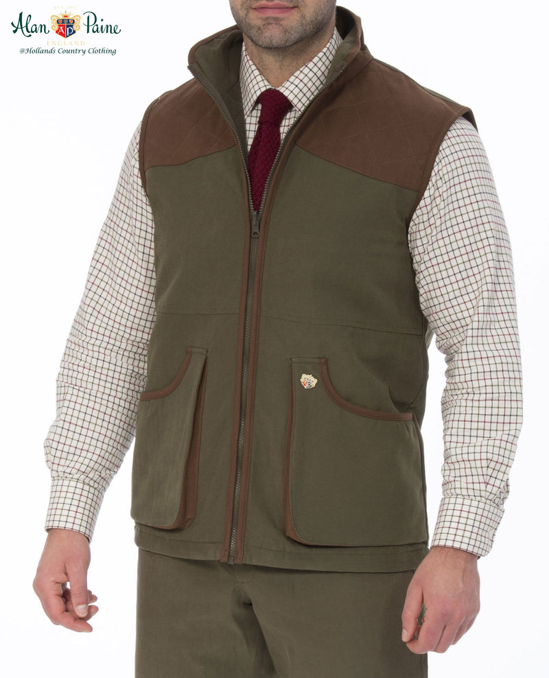 man wearing Berwick Men's Waterproof Waistcoat by Alan Paine