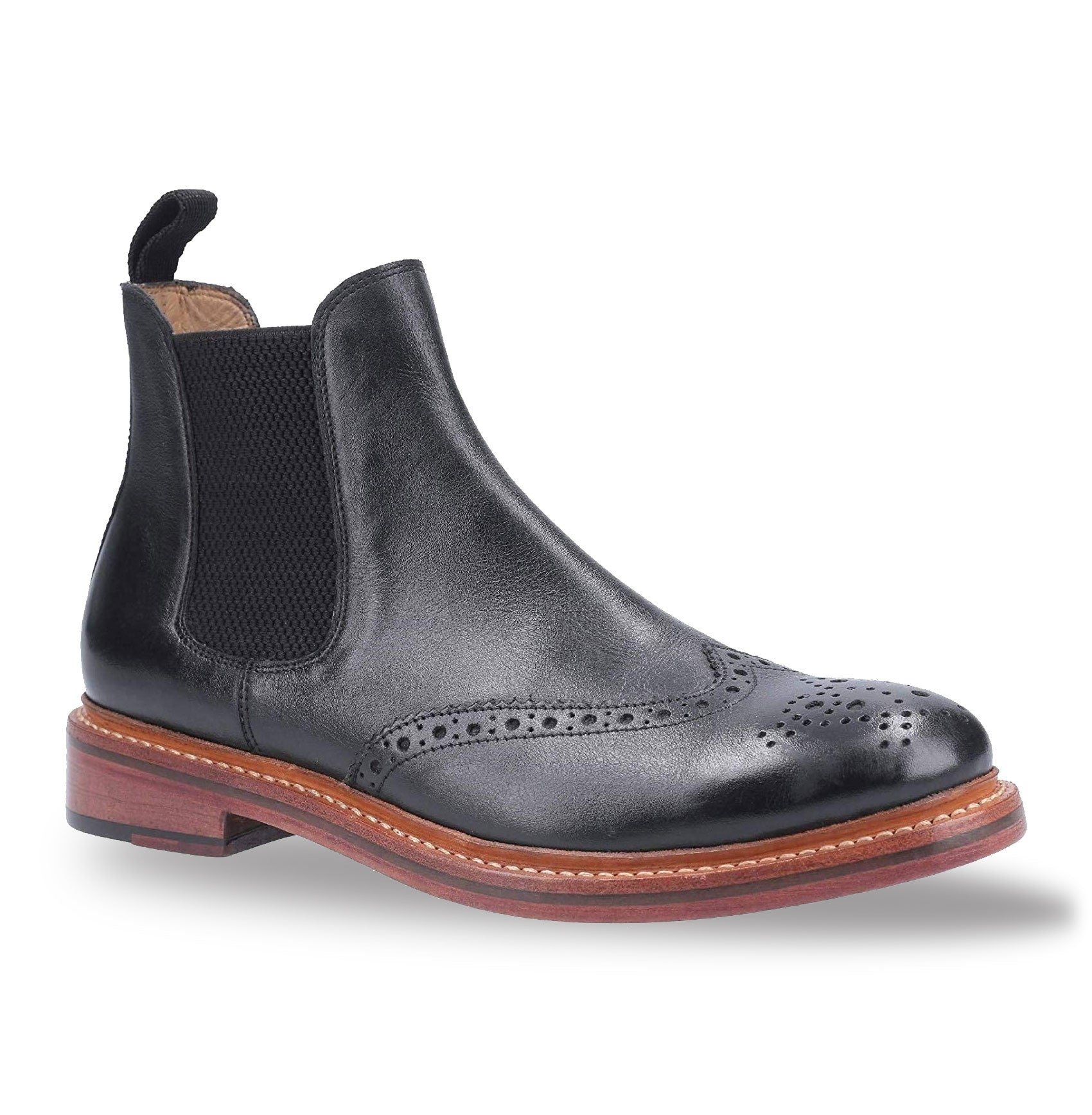Black Cotswold Siddington Leather Brogue Chelsea Boot