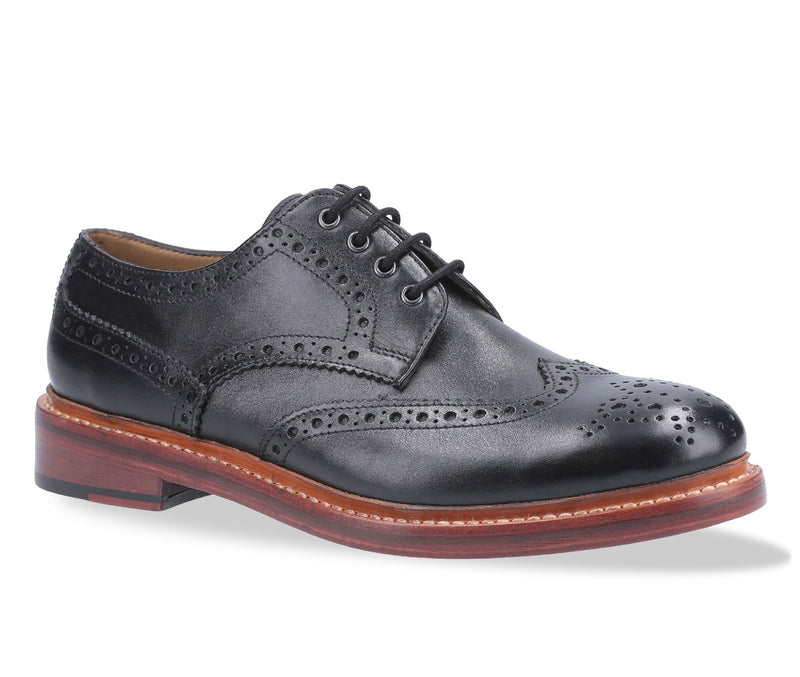 Black Cotswold Quenington All Leather Brogue Shoe