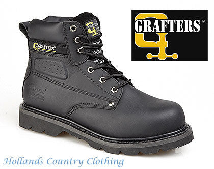 Grafters Black Safety Toe Cap Work Boot