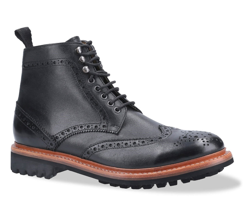 Black Rissington Goodyear Welt Commando Brogue Lace Up Derby Boot
