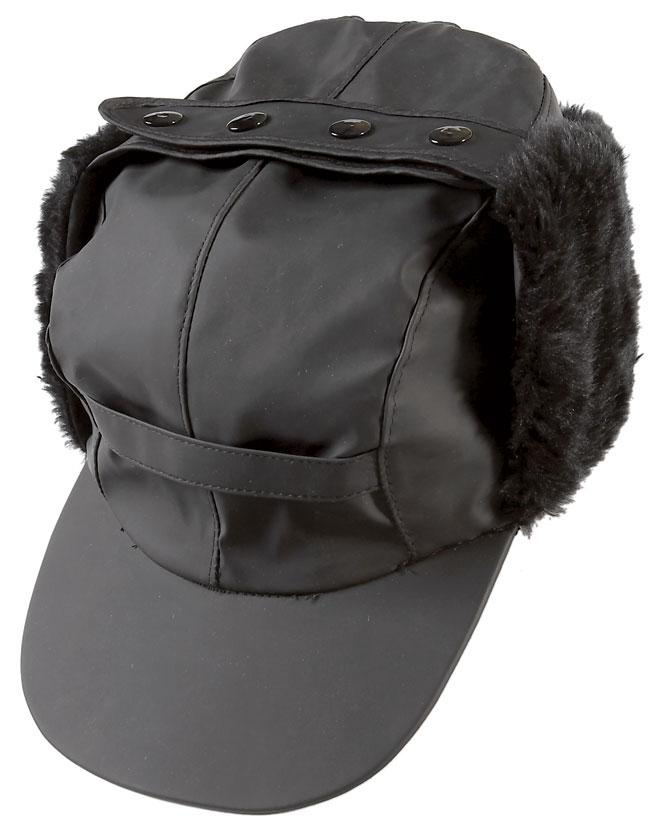 Black waterproof Peaked Tractor Cap with Ear Warmers