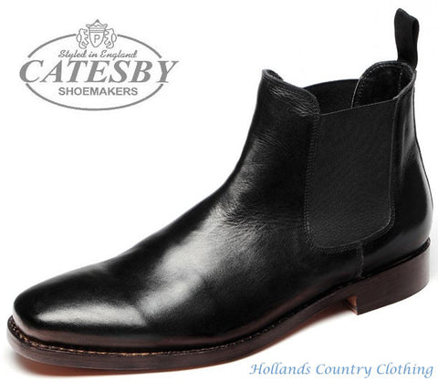 Catesby Black  All Leather Dealer / Chelsea Boot with pull on elastic gussets