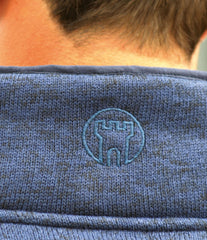 Blue knitted fleece pullover