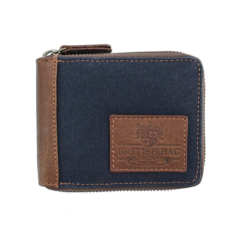 Blue British Bag Co. Waxed Canvas Zip Wallet