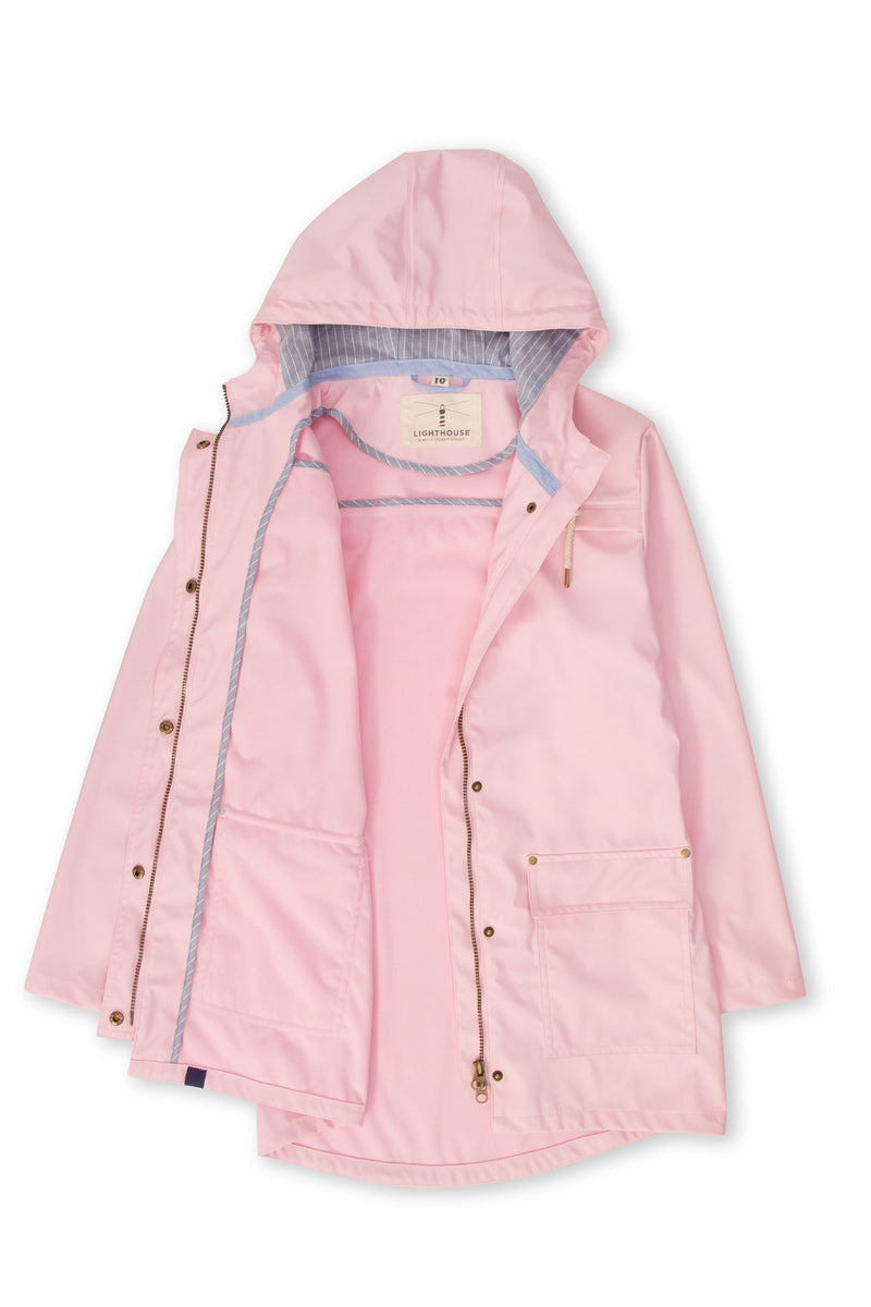 open to show lining Lighthouse Bowline Rubberised Jacket in Pink, Navy and Yellow