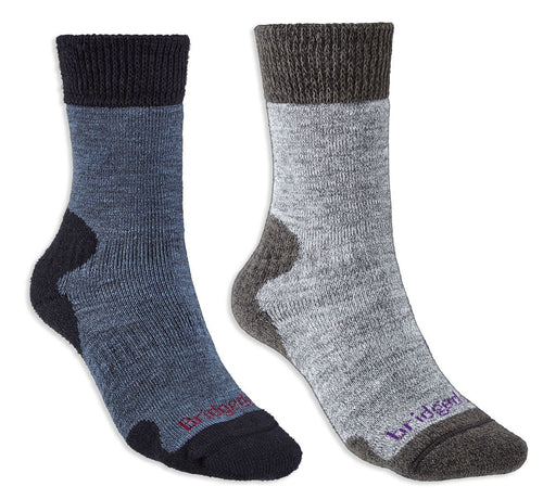 Bridgedale Women's Explorer Heavyweight Comfort Sock | Storm Blue and Grey