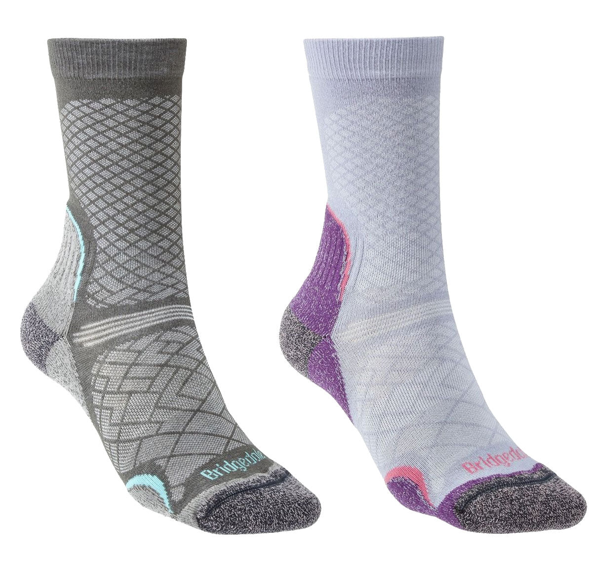 Bridgedale Women's Hike Ultra Light T2 Boot Sock | Grey, Heather Damson