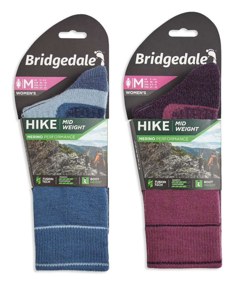 Packaging cardboard Ladies Hike Merino Performance Sock by Bridgedale