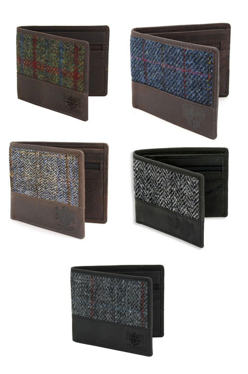 British Bag Company Harris Tweed Wallet | Blue, Grey Herringbone, Green, Grey